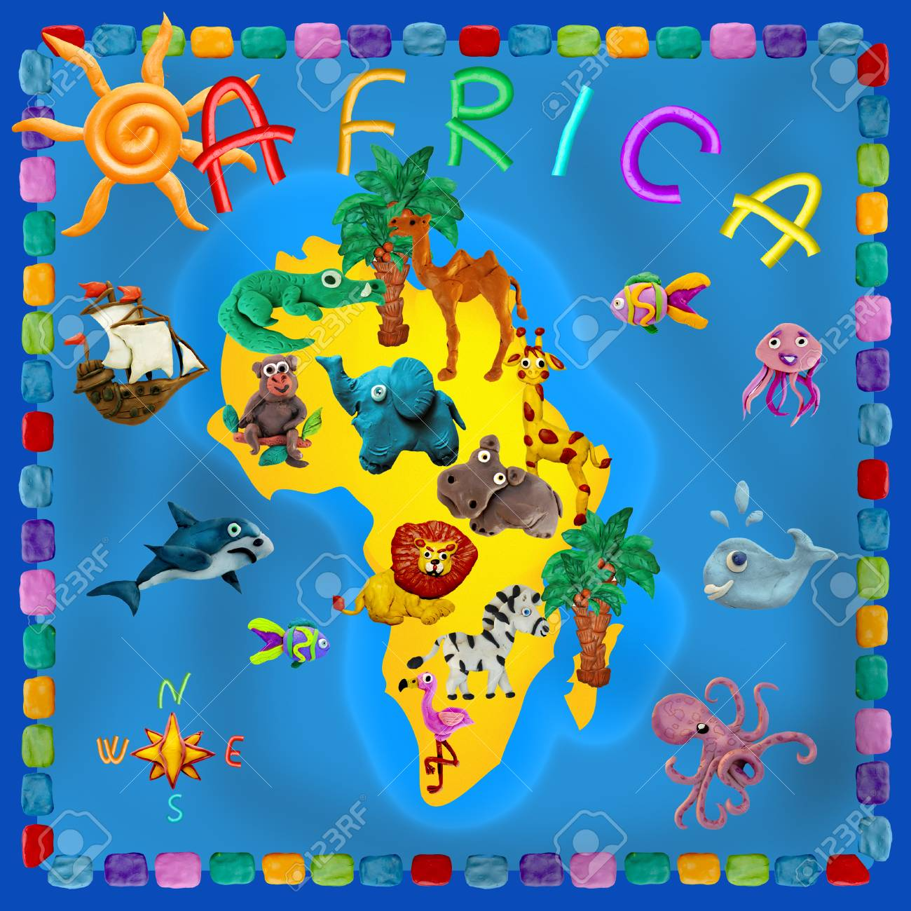 Africa Continent Plasticine Kids 3d Map Stock Photo, Picture And
