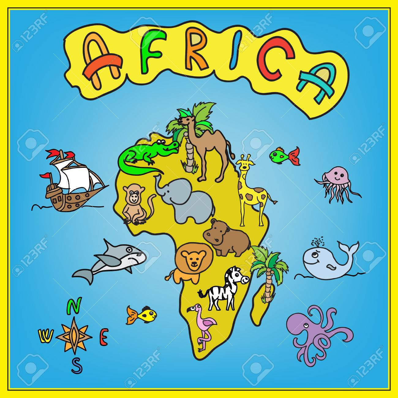 Africa Continent Kids Cartoon Map Stock Photo, Picture And Royalty