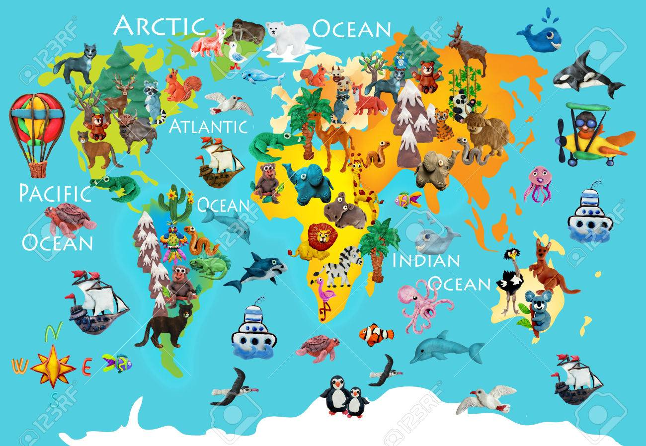 World Animals Plasticine Colorful Kids 3d Map Stock Photo, Picture ...