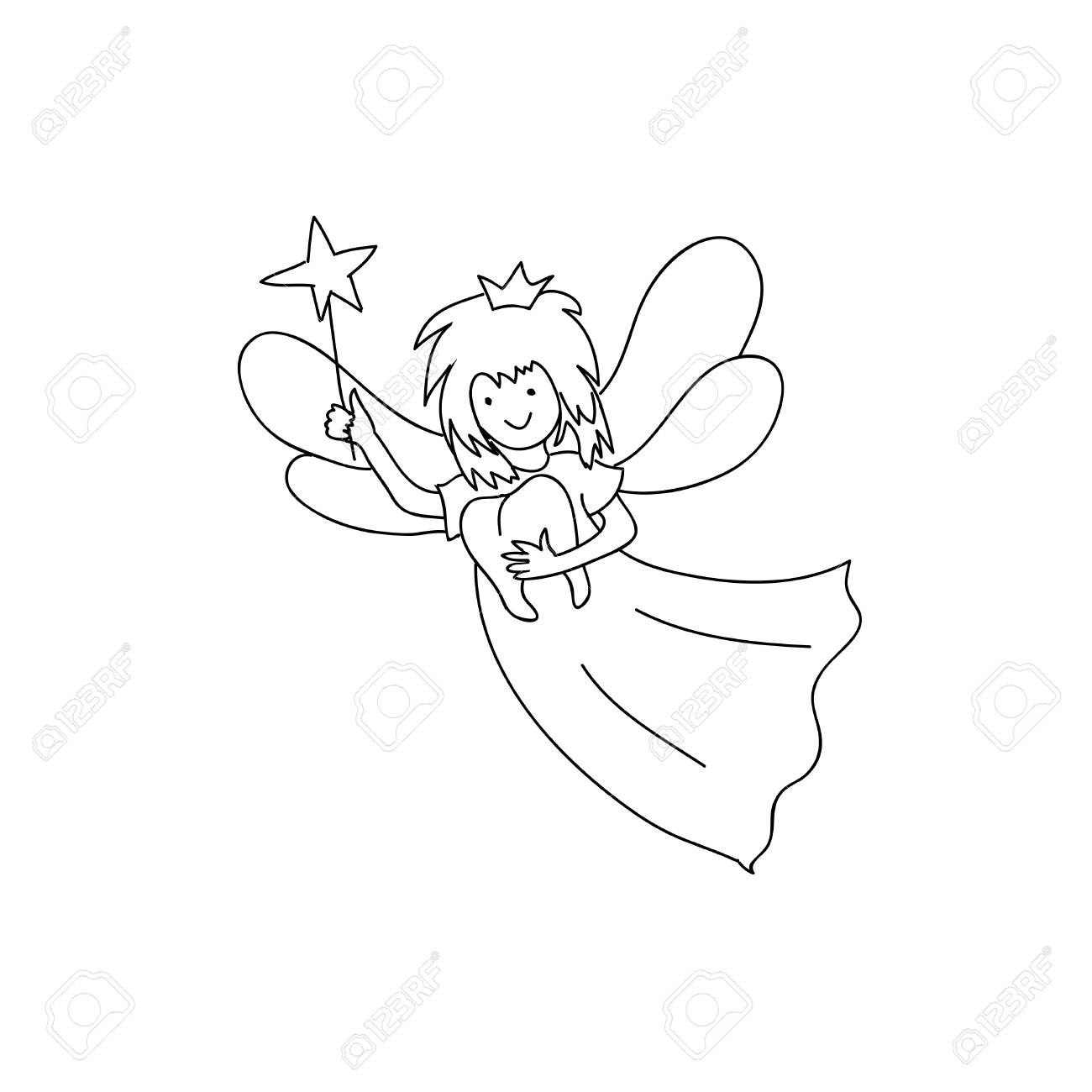 Tooth fairy holding teeth children coloring page line art isolated..