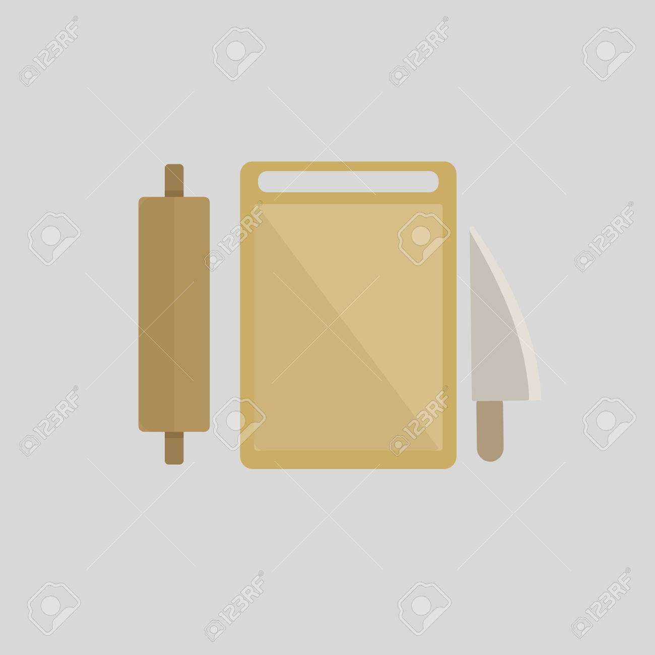 Utensilios De Cocina, Rodillo, De Bloque Y Un Cuchillo De Cocina ...