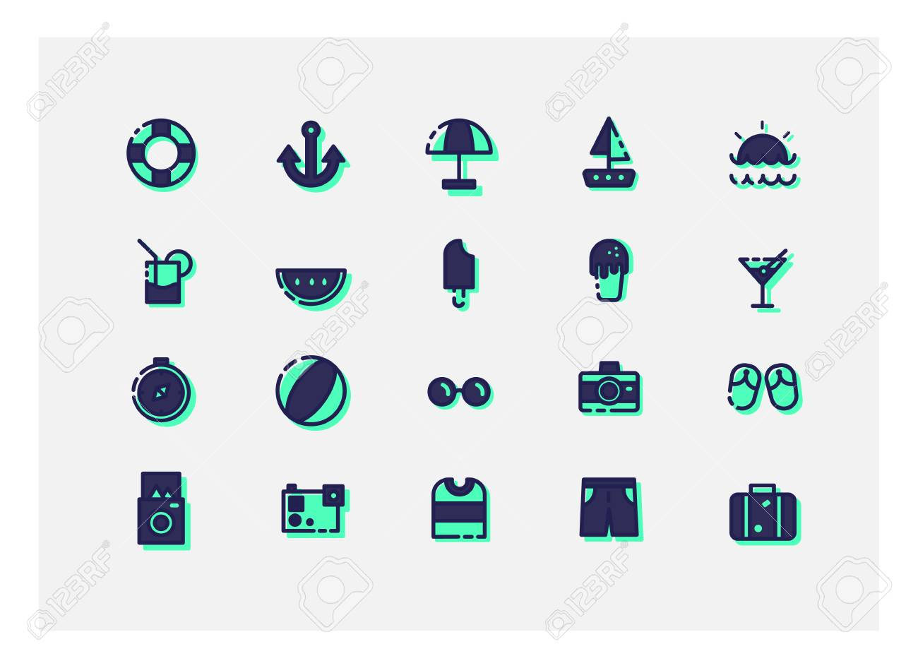 summer icon set vector line icons royalty free cliparts vectors and stock illustration image 59205203 123rf com