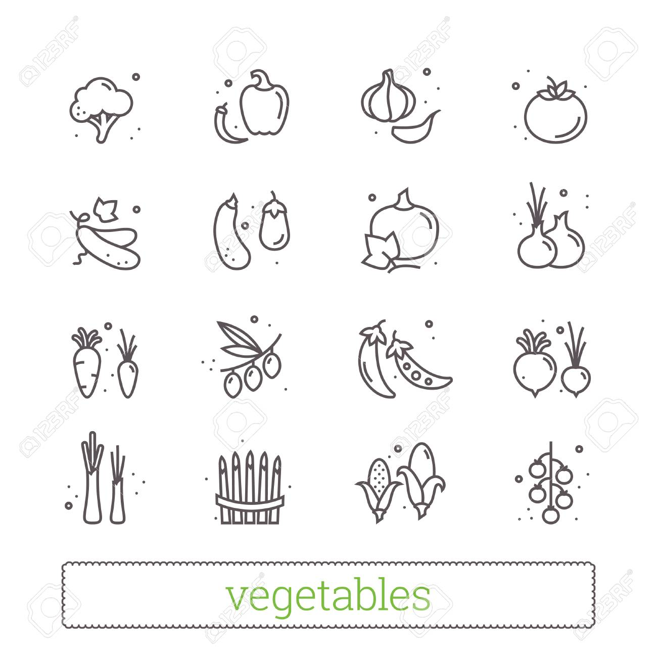 Vegetables Thin Line Icons Modern Linear Design Elements And