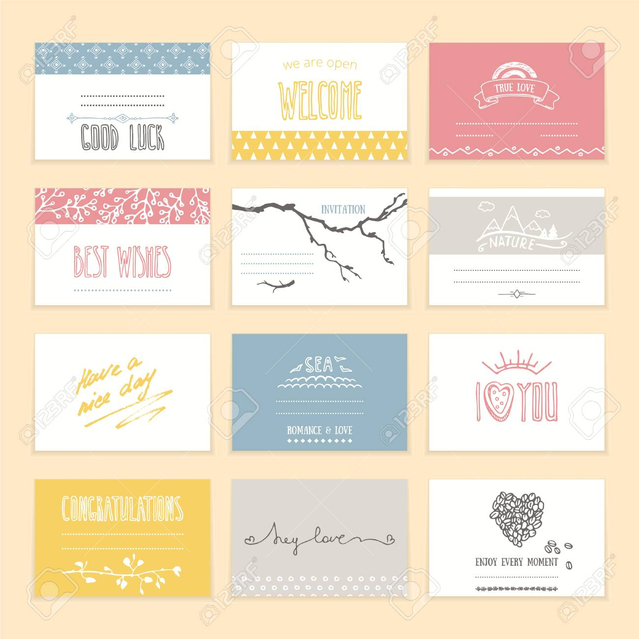 Romantic Invitation And Greeting Cards With Cute Hand Drawn Elements