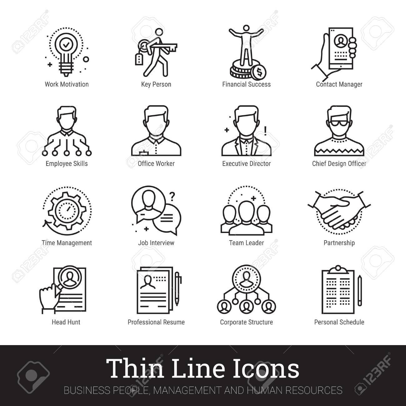 Business people, human resources thin line icons. Modern linear logo concept for web, mobile application. Management, employee organization structure, team work symbols. Outline vector collection. - 124951311