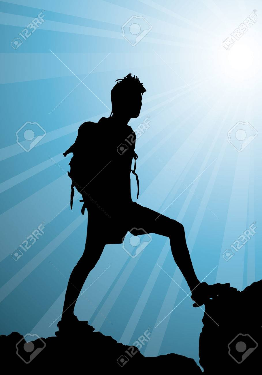 backpacker standing on top of mountain, vector illustration Stock Vector - 3594256