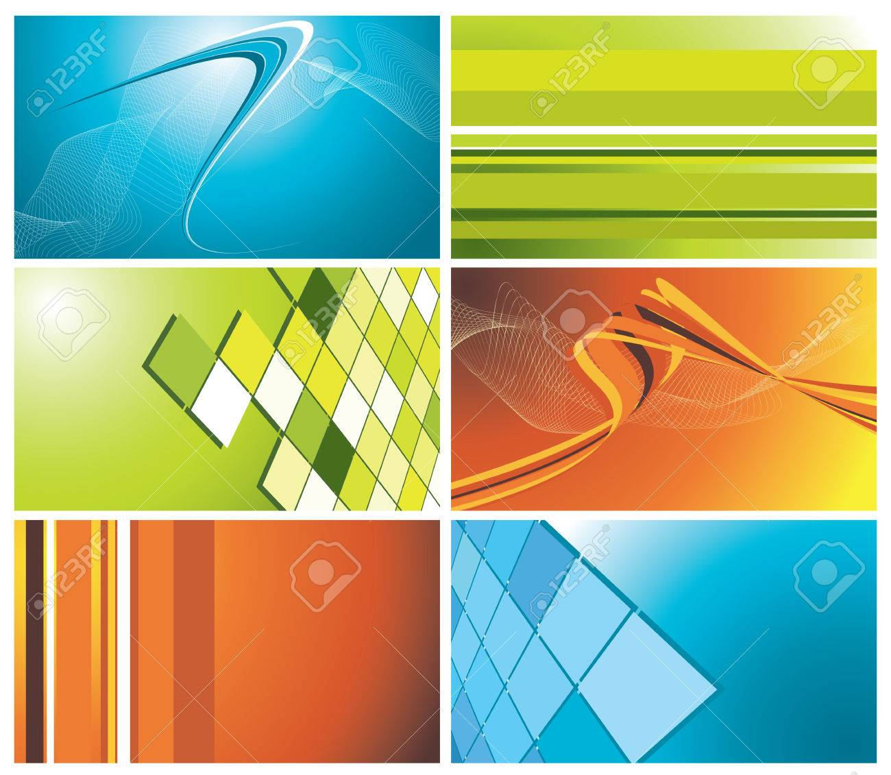 set of colorful business cards, vector illustration Stock Vector - 5109873