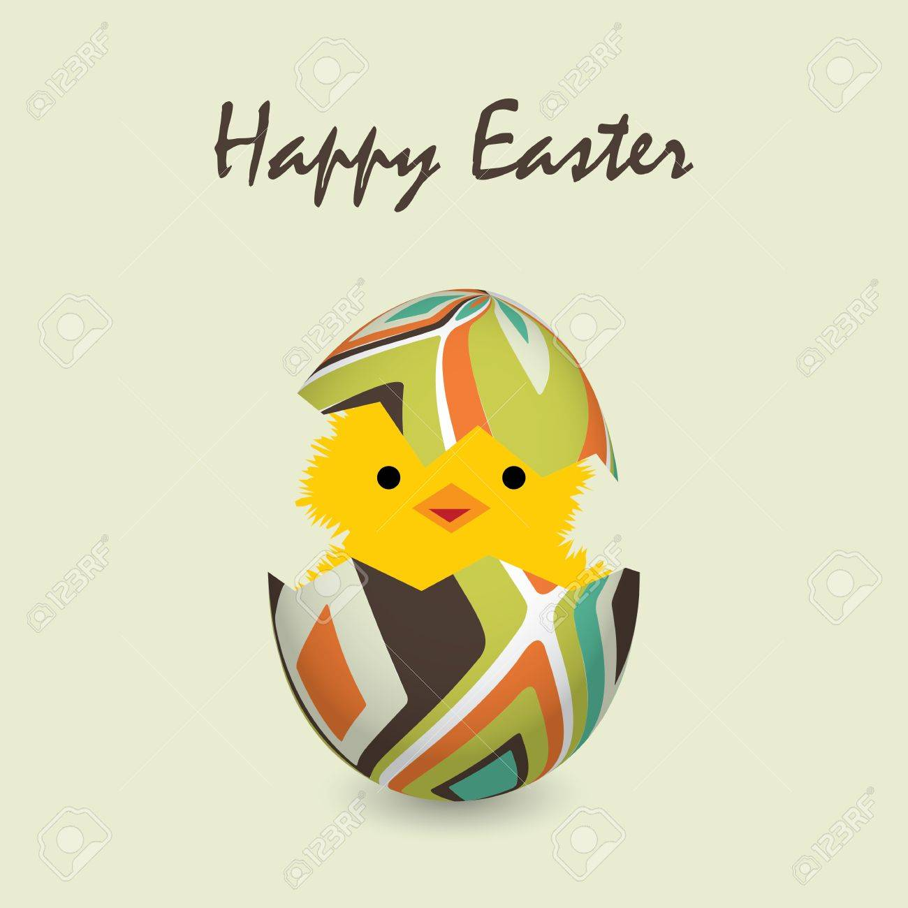 easter card with a hatching chick, vector illustration Stock Vector - 12929664