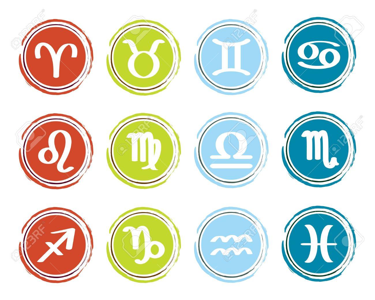horoscope zodiac signs, set of icons Stock Vector - 13196390