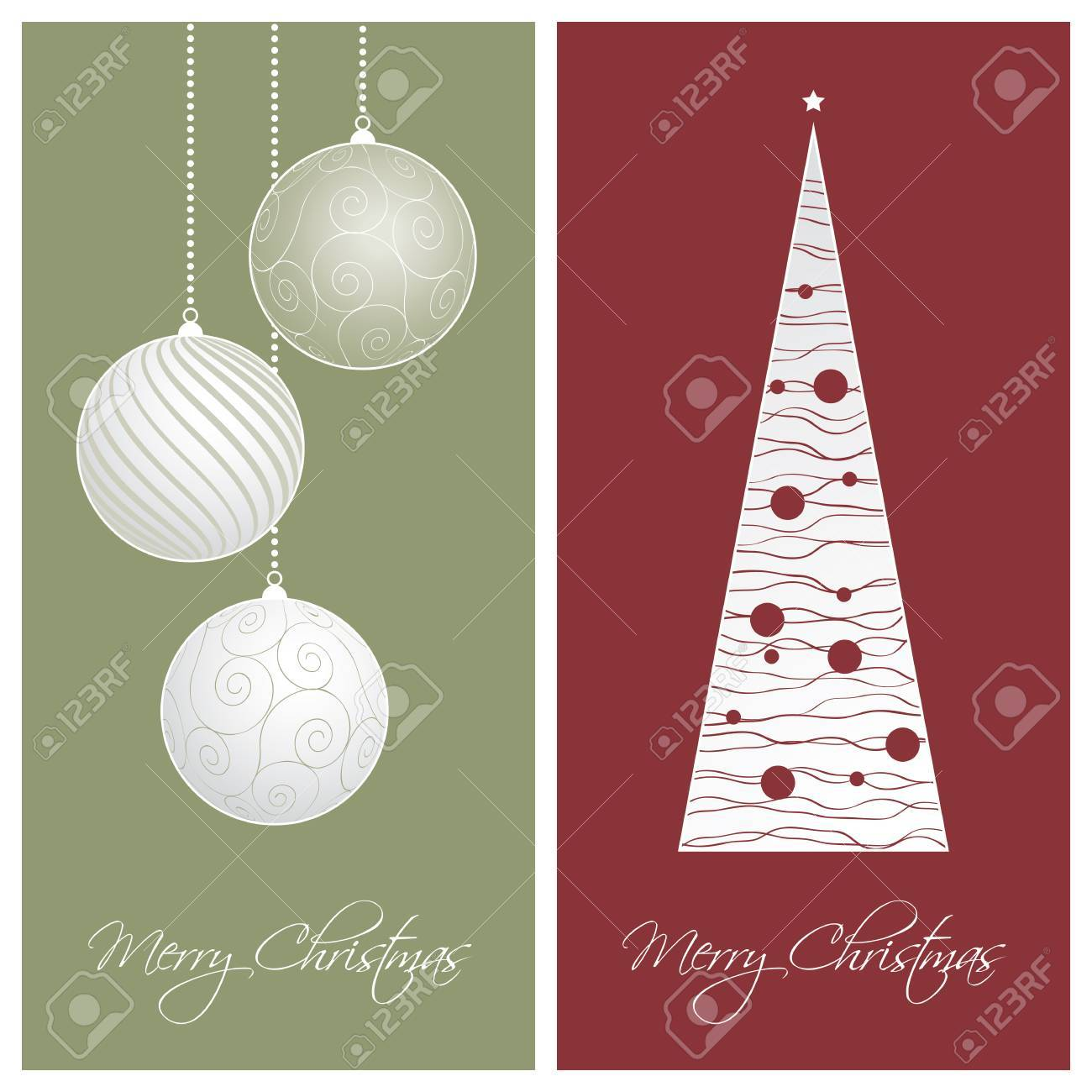 set of red and green christmas card backgrounds vector illustration stock vector 23292692