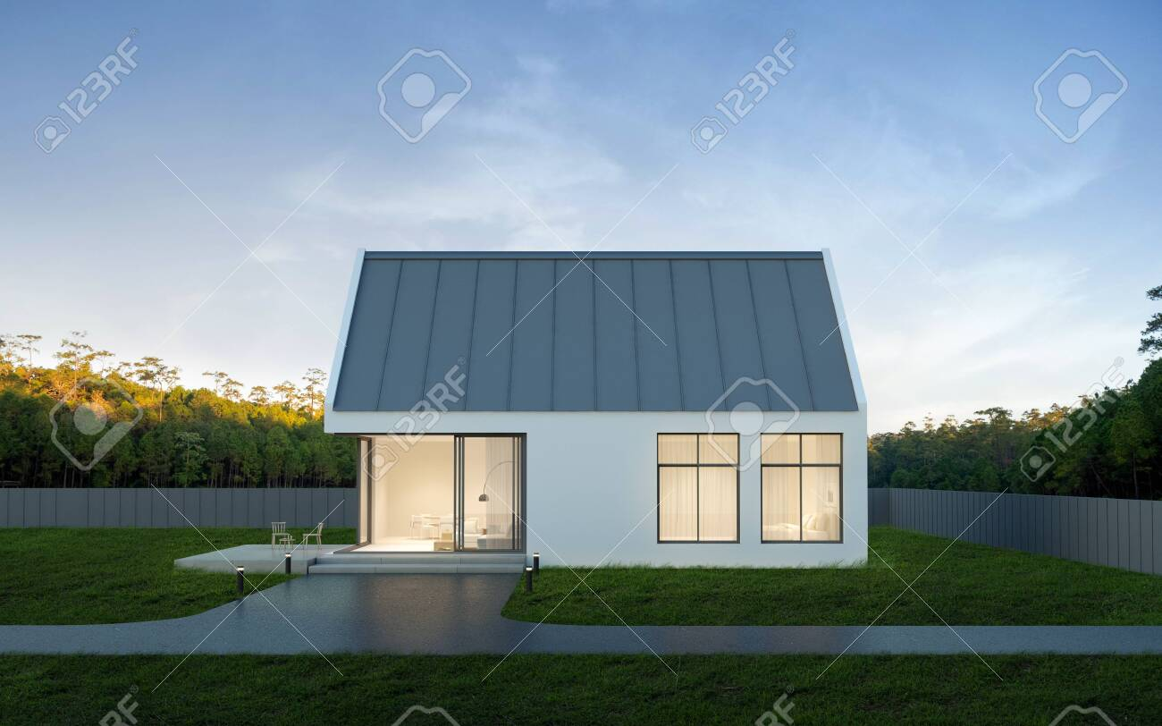3D render of white modern house with swimming pool on nature background, Exterior with large window design. - 155398754