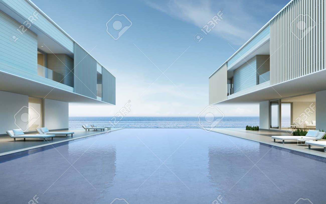 Perspective of modern house with swimming pool on sea background, Exterior. 3d rendering - 155399301