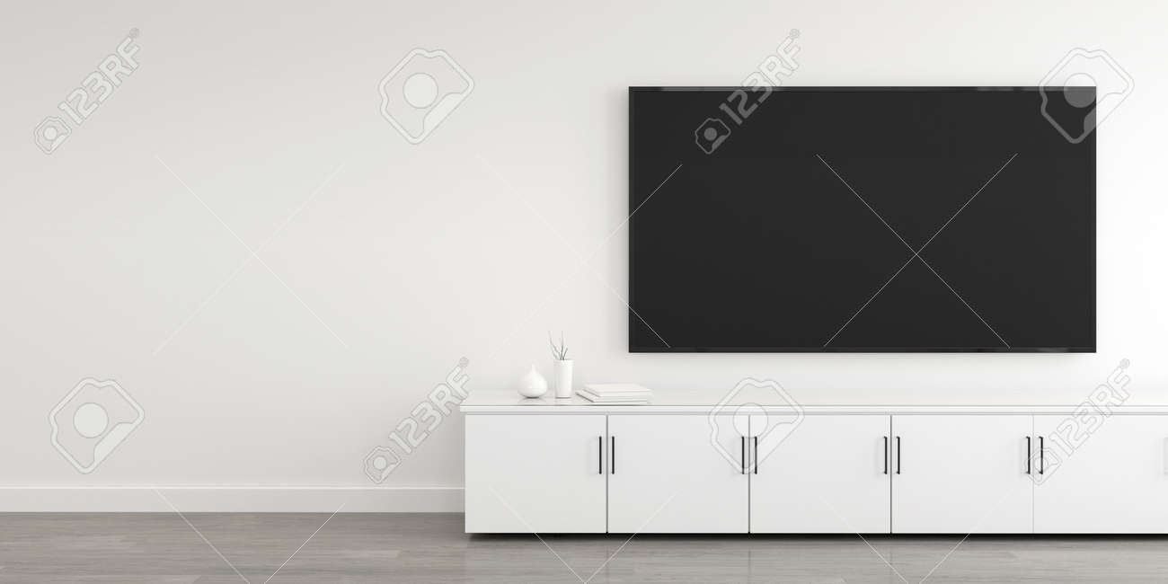 3D rendering of modern living room with TV screen and cabinet. - 155500705
