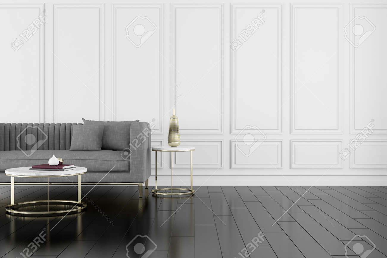 3D render of room with wooden floor and classic wall with sofa. - 155501049