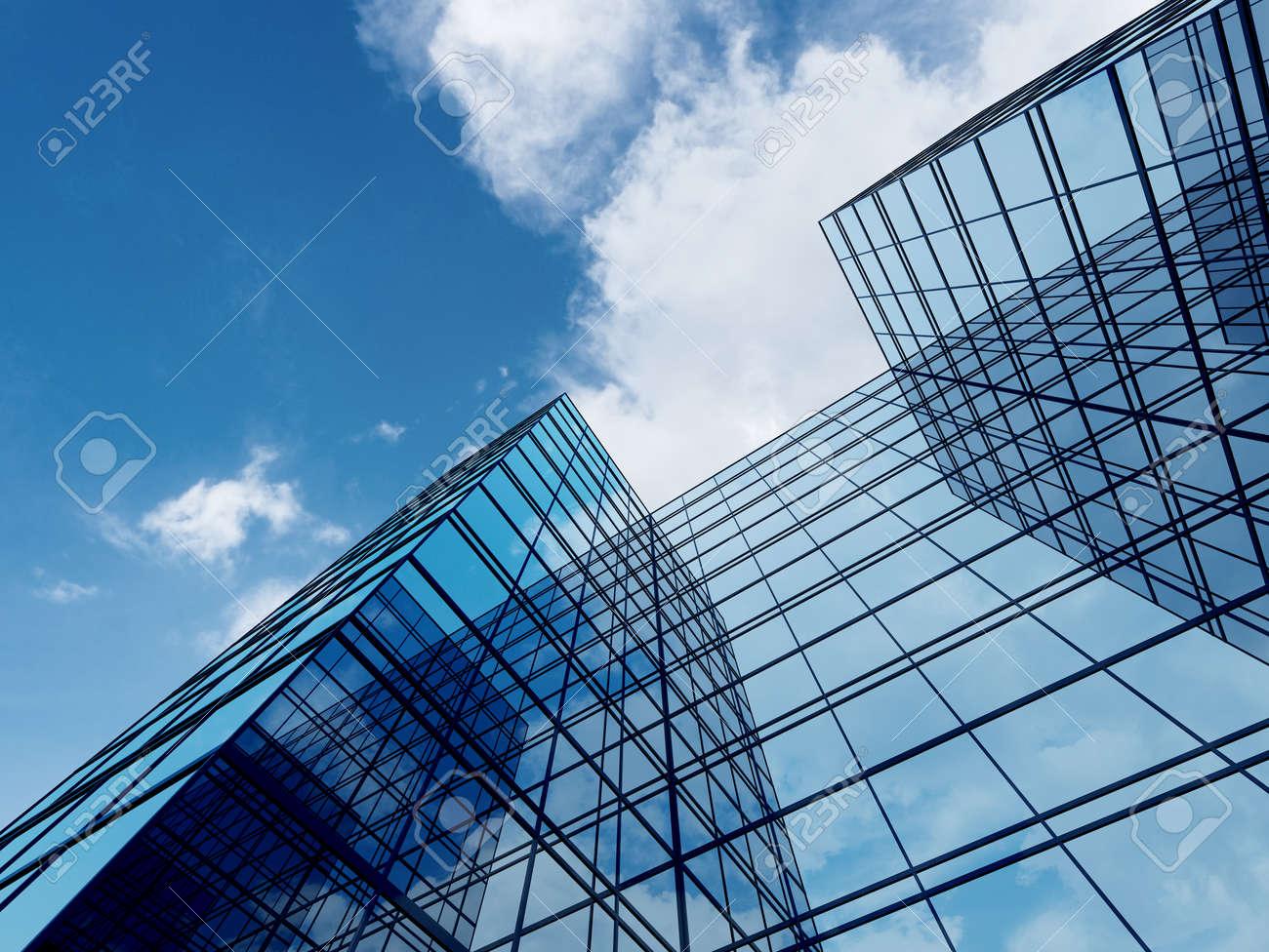 3D render of futuristic architecture, Skyscraper building with glass window. - 155573075