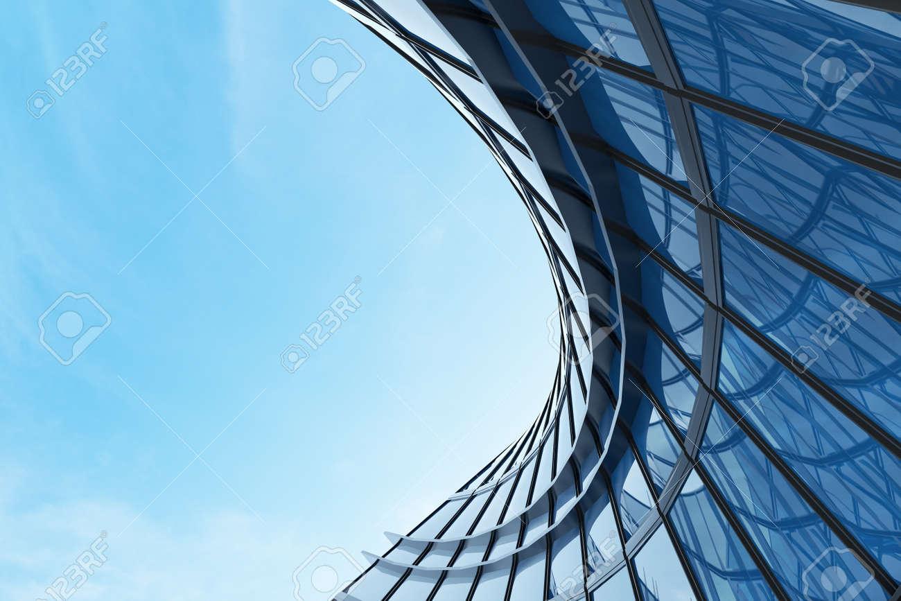 3D render of futuristic architecture, Skyscraper building with curve glass window. - 155573147