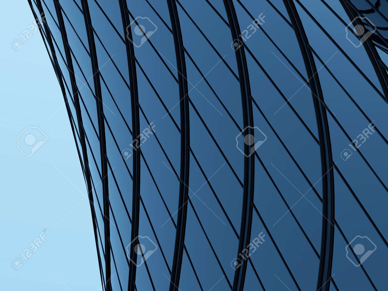 3D render of futuristic architecture, Skyscraper building with curve glass window. - 155573262