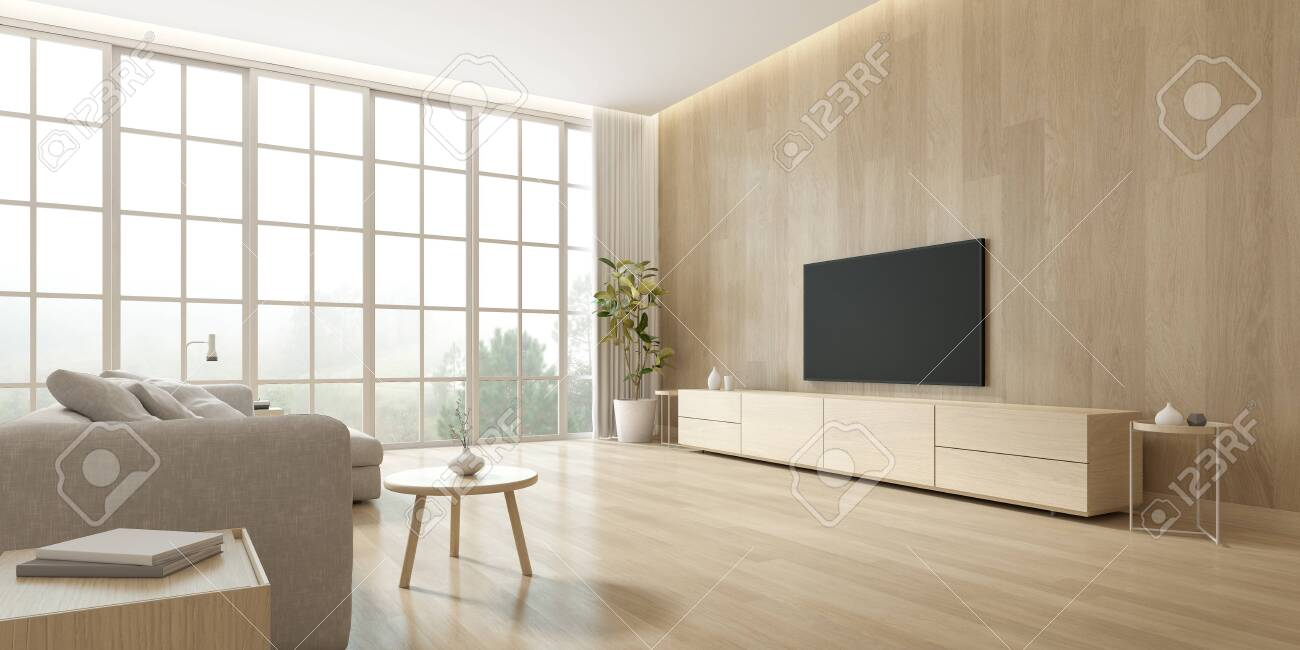 3d Rendering Of Modern Living Room With Tv Screen On Wooden Wall Stock Photo Picture And Royalty Free Image Image 156095717