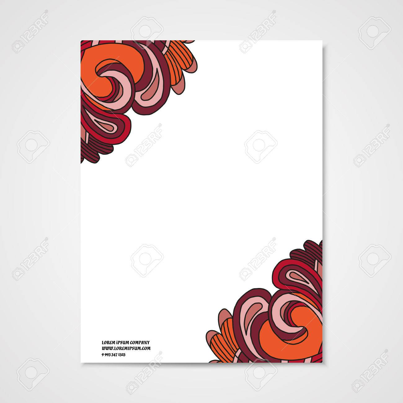 graphic design letterhead with hand drawn ornament in bright