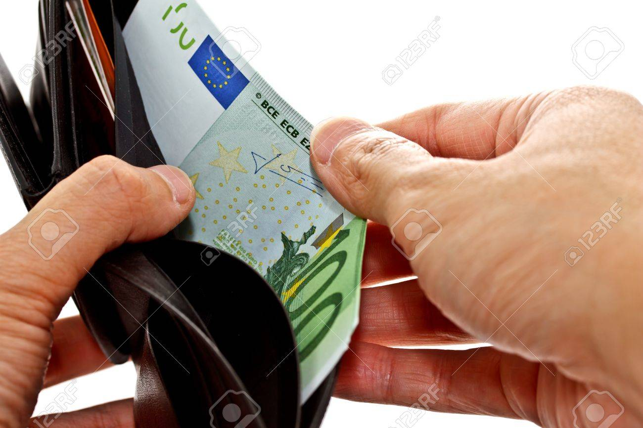 hand keeping 100 Euro banknote from black wallet Stock Photo - 13102807