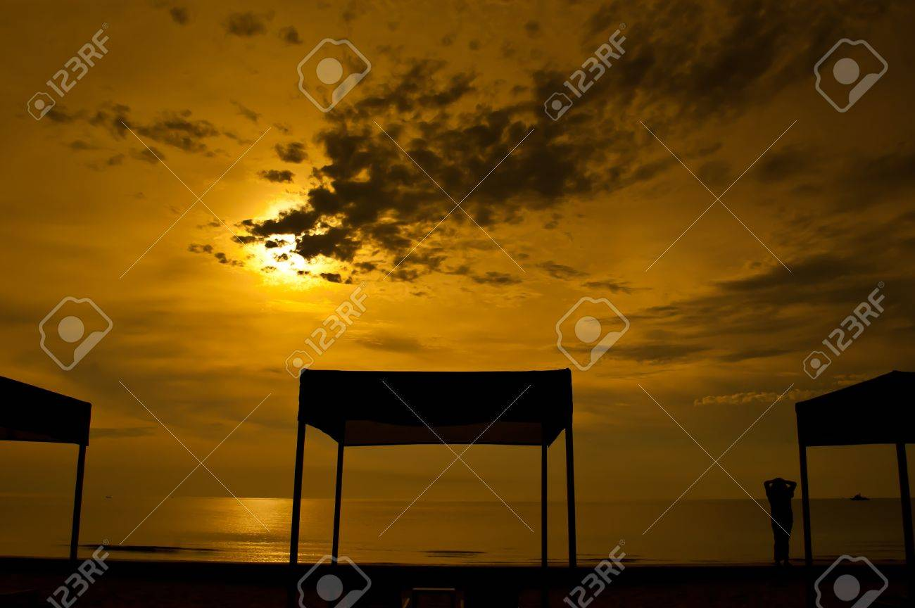 Beach beds and tent at colorful dawn Stock Photo - 11345878