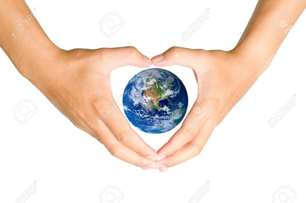 Hand holding the blue Earth Elements of this image furnished by NASA - 12782333