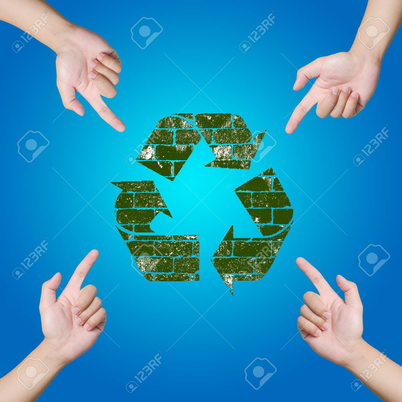 Hand pointing Recycle sign  Save the world concept Stock Photo - 12782371