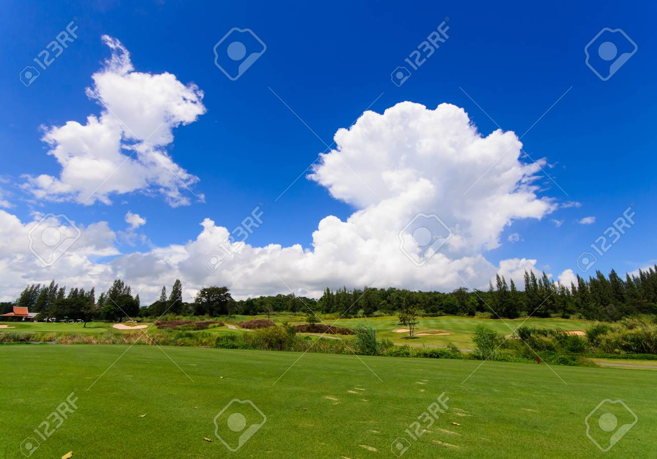 landscape of a beautiful green golf course with sky Stock Photo - 15723615