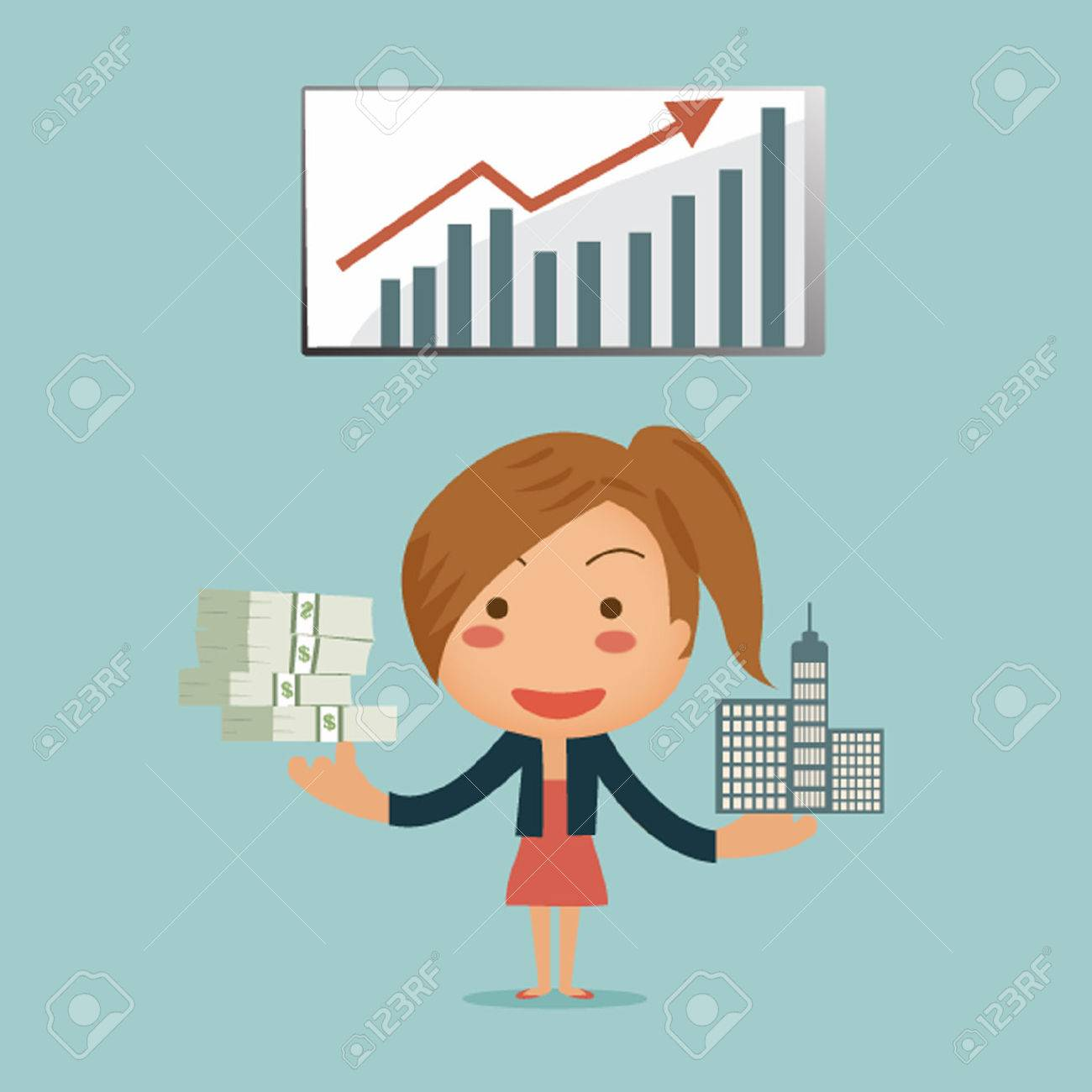 Business woman showing her passive income from asset infront of graph background - 27297231