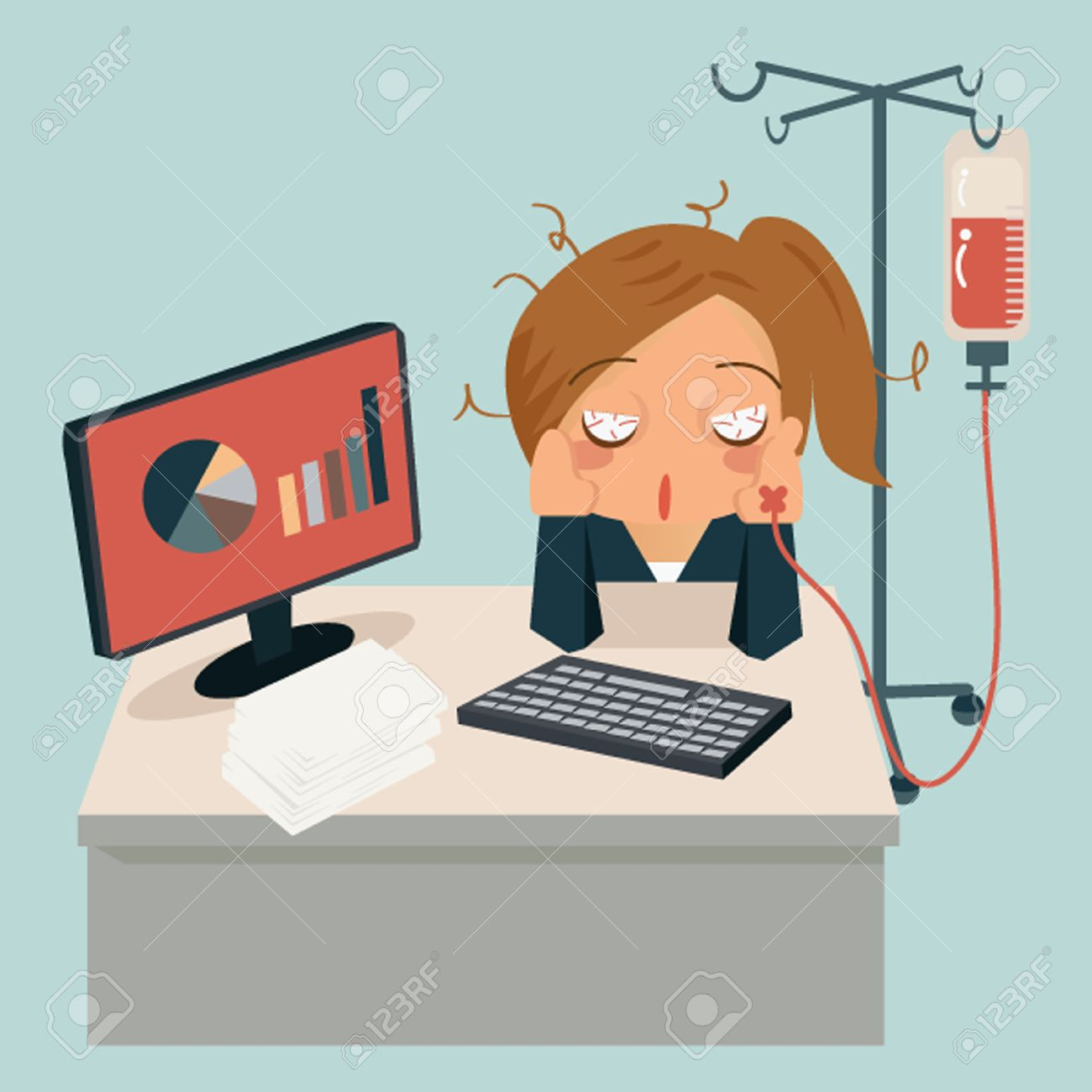 Businesswoman sitting in office, looking tired and her hand attaching intravenous tube to medicine dropper Stock Vector - 27718651