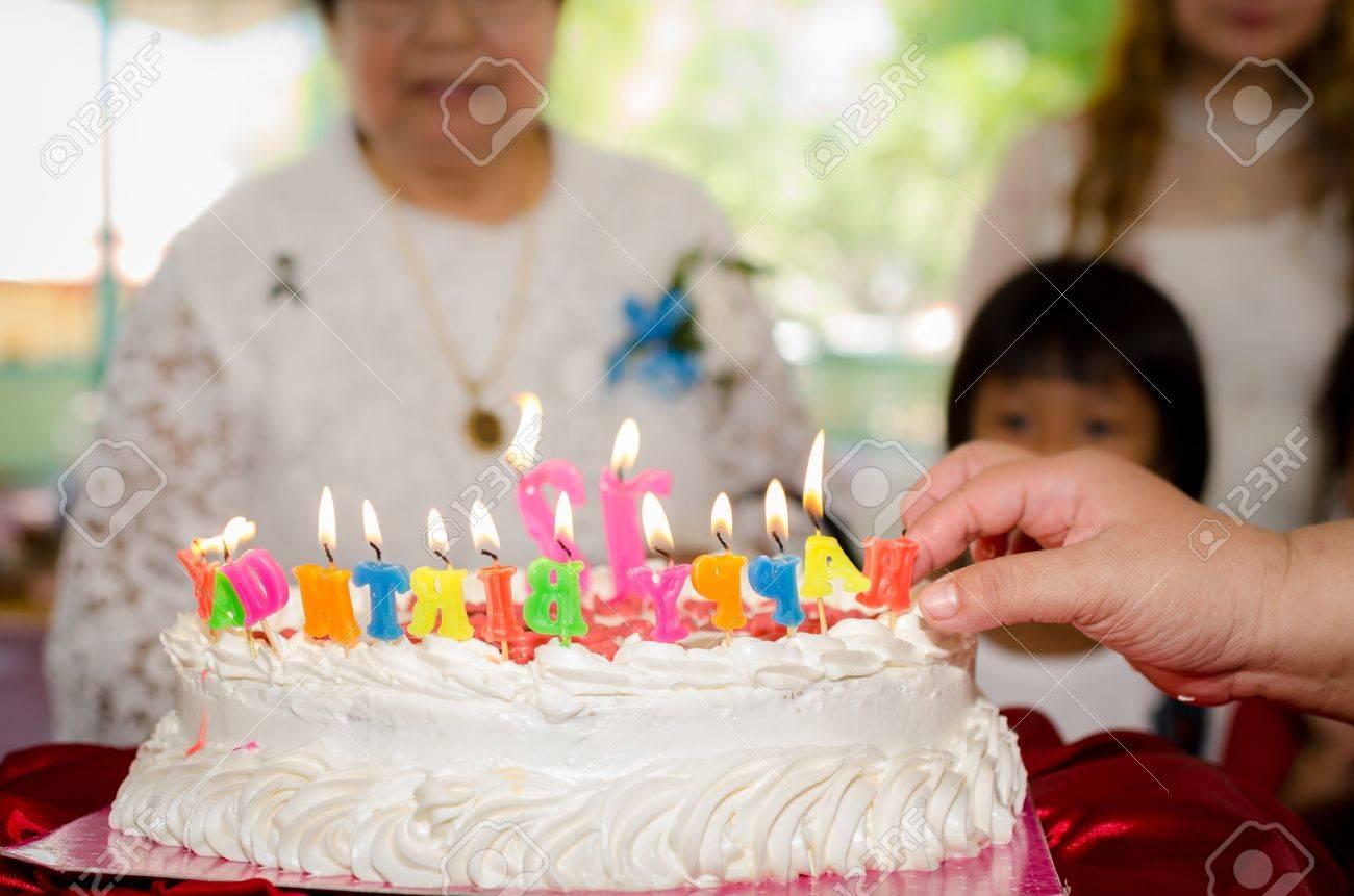 Happy Birthday Cake For Senior Woman Lifestyle Concept Stock Photo