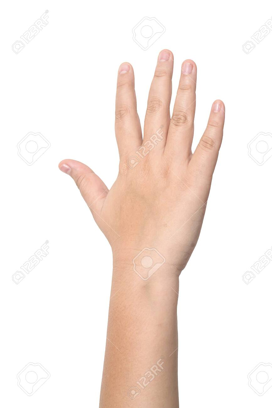 Child hand showing the five fingers isolated on a white background - 126567935