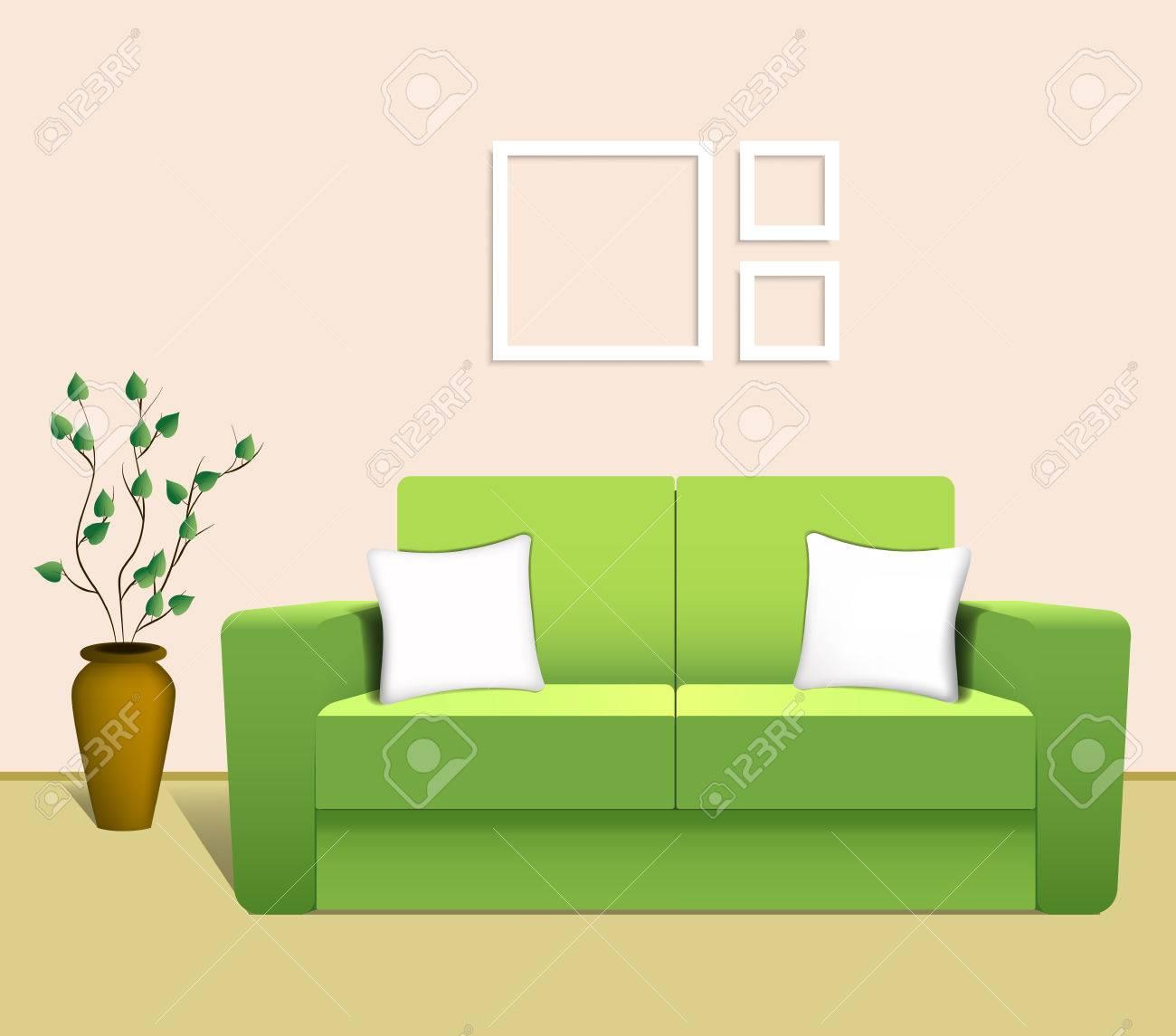Green Sofa In The Living Room. Vector Illustration Stock Vector   44284058