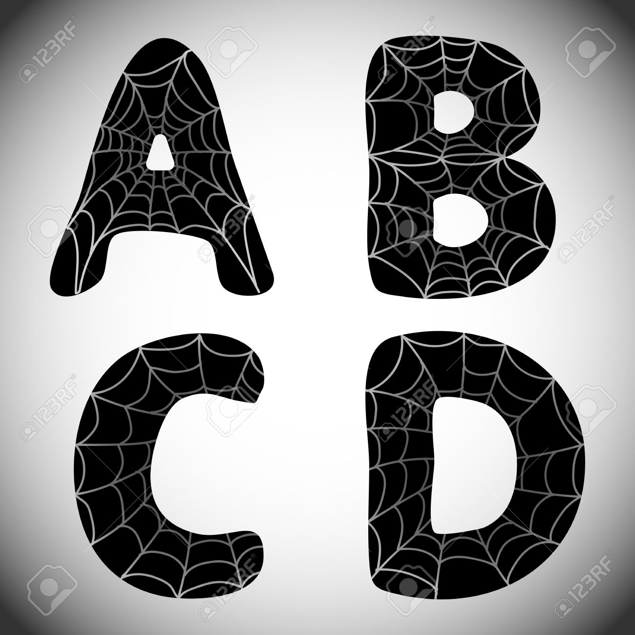 Halloween Alphabet. Black Letters A, B, C, D With Spider Web ...
