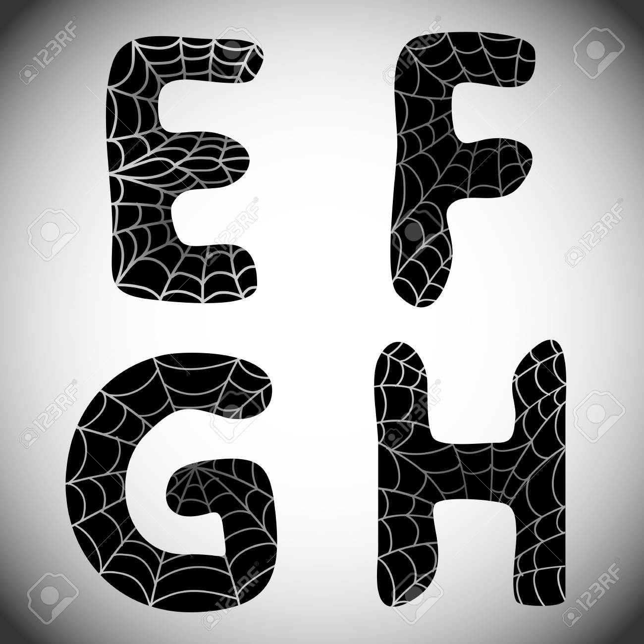 Halloween Alphabet. Black Letters E, F, G, H With Spider Web ...