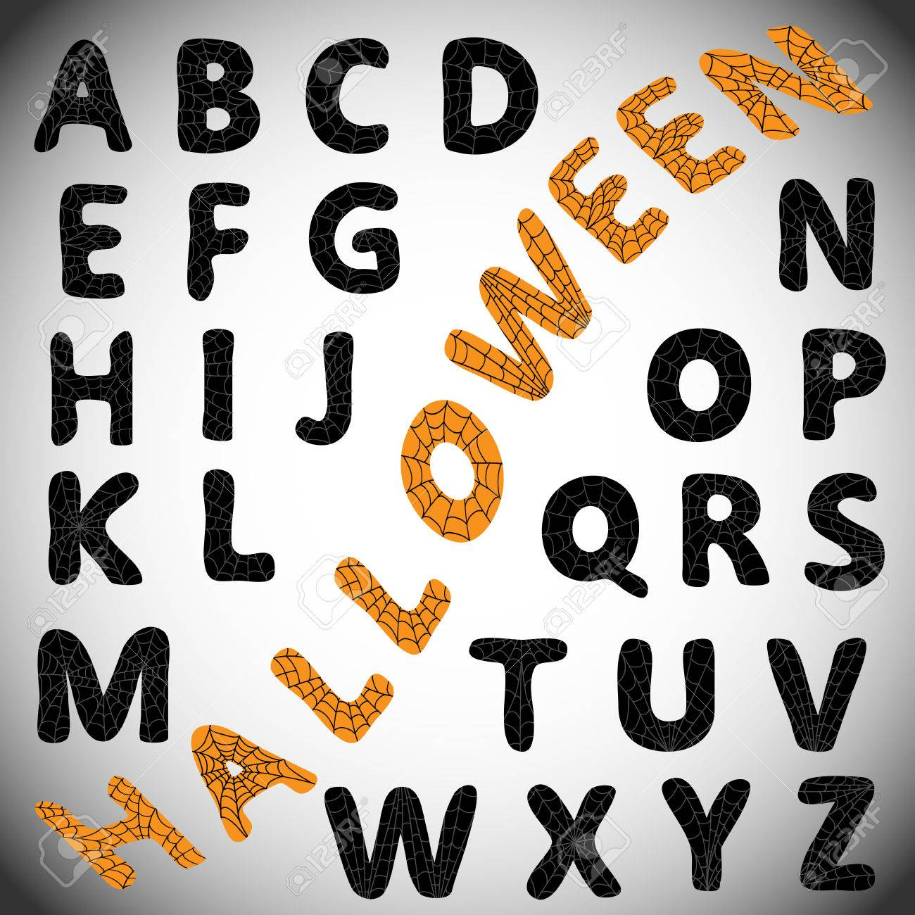 Halloween Alphabet. Black Letters With Spider Web On Them. Can ...