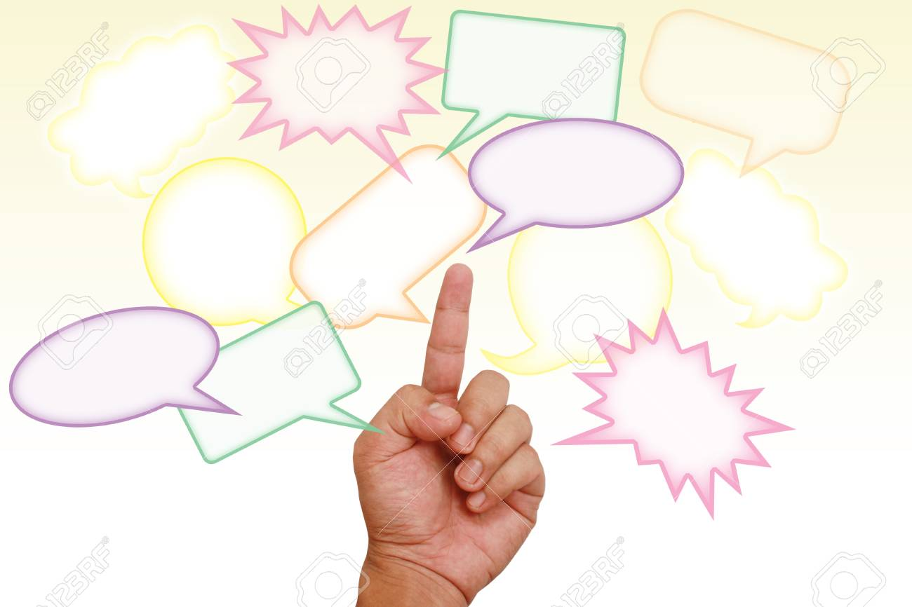 Hand pointing on colorful blank message Stock Photo - 9856543
