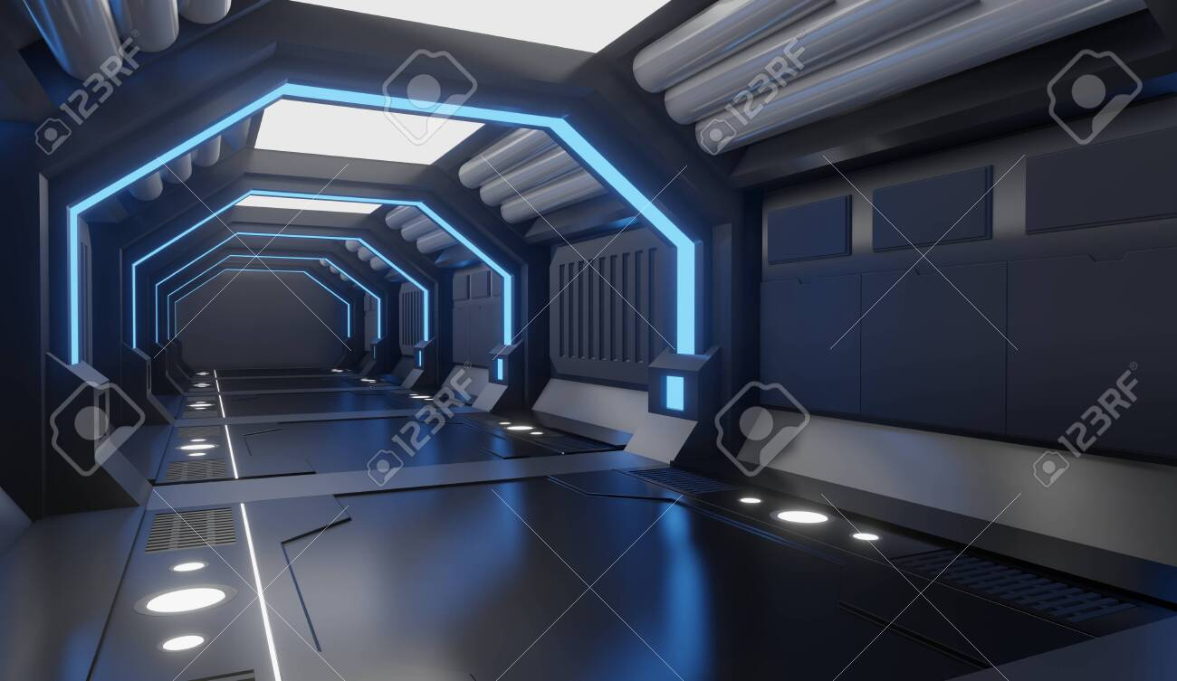 3D rendering Spaceship black interior with blue light,tunnel,big corridor, futuristic - 153984802