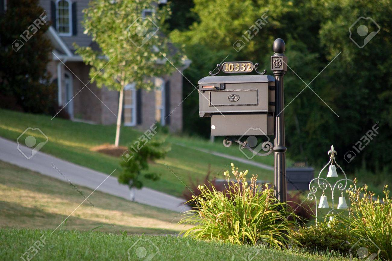 Old-styled mailbox with ornament - 5575591