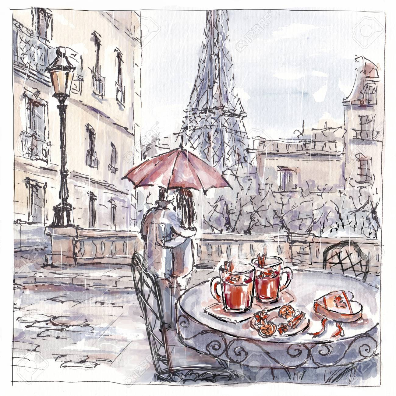 Stock photo watercolor sketch of romantic couple in paris