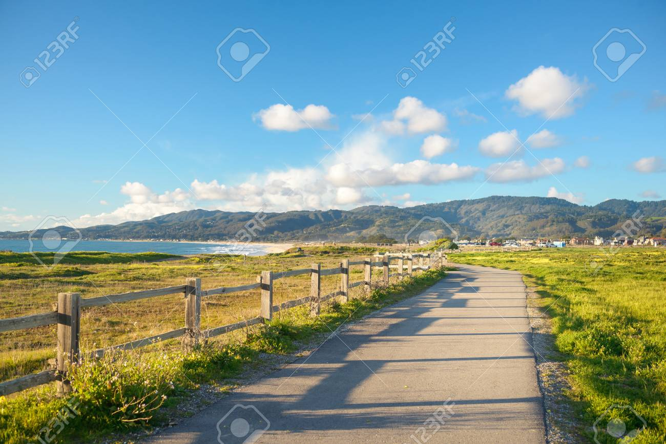 Beautiful scenic road on the green bluff above the ocean beach - 106272130
