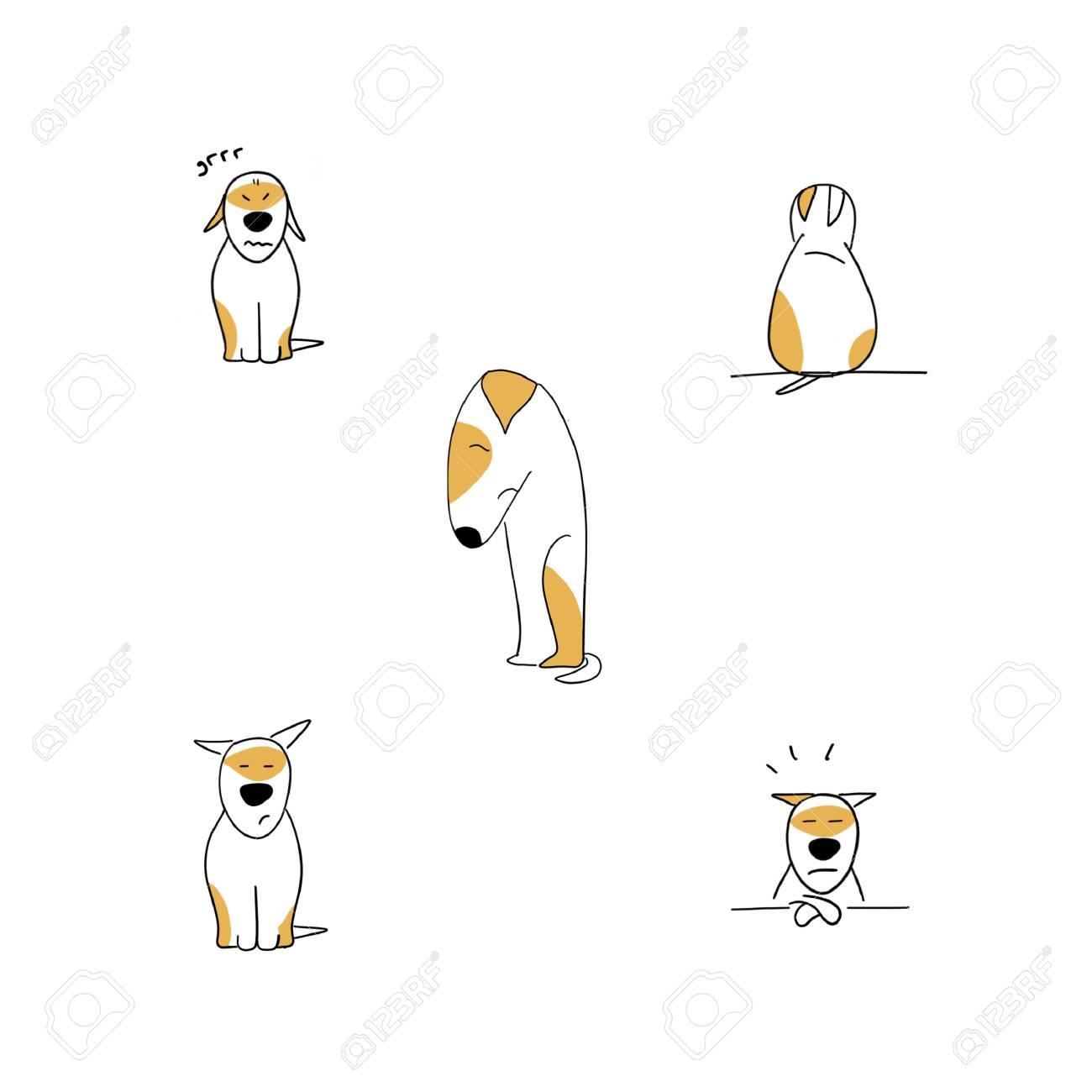 Set of sad puppy cartoon emotions illustration isolated on white - 115343684