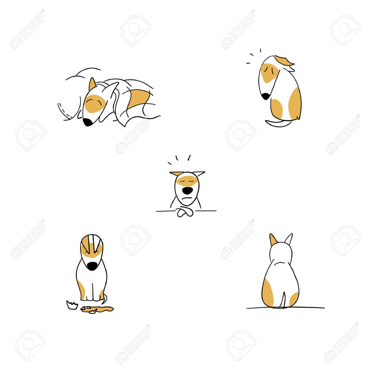 Set of sad puppy cartoon emotions illustration isolated on white - 115343688