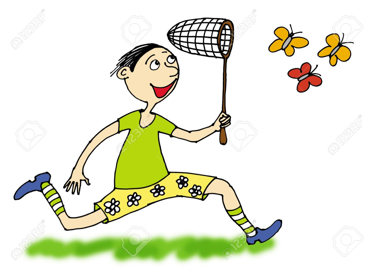 boy catching butterflies, cartoon Stock Photo - 8652568