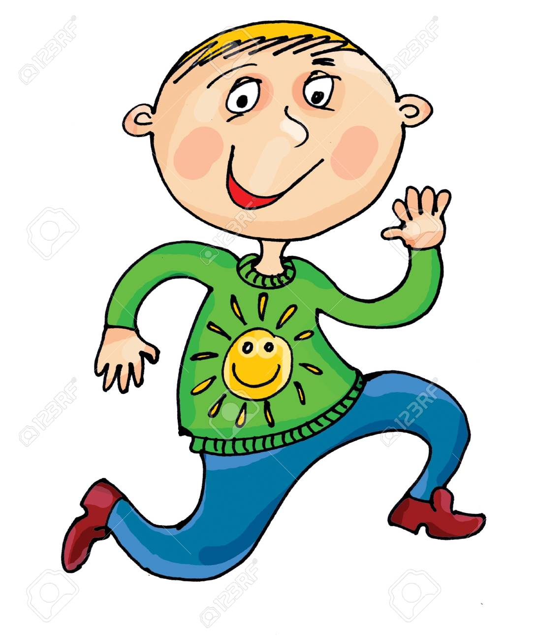 An illustration of a young boy jumping for joy Stock Illustration - 8979873