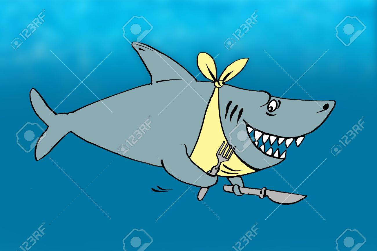 Cartoon of a hungry shark with fork and knife Stock Photo - 9358138