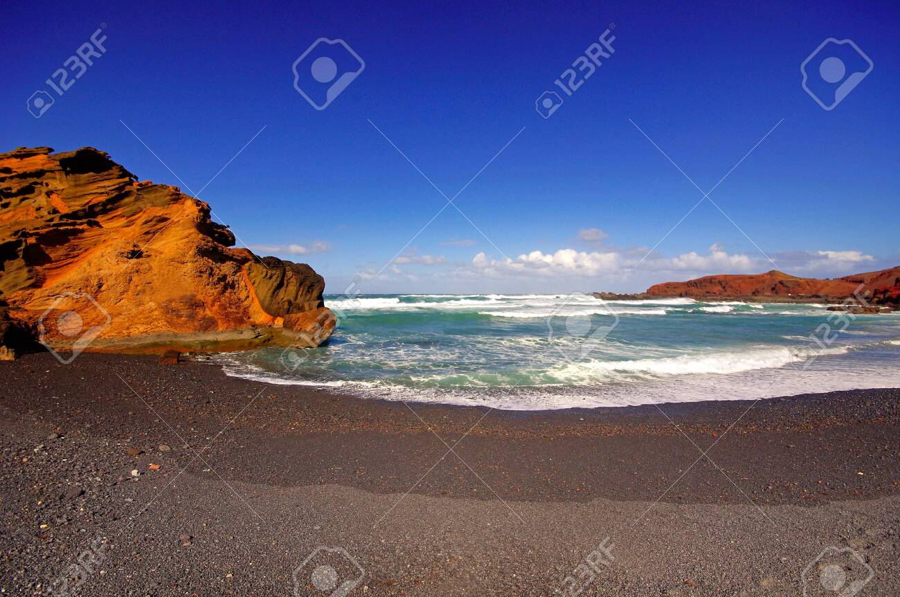 El Golfo bay, Western Lanzarote, Canary islands, Spain Stock Photo - 26575757