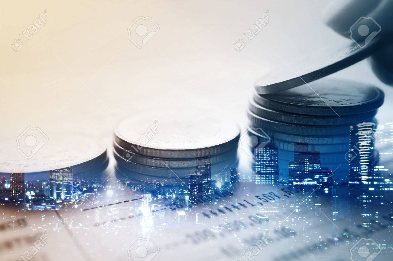 Double exposure of city and rows of coins for finance and banking concept - 54308874