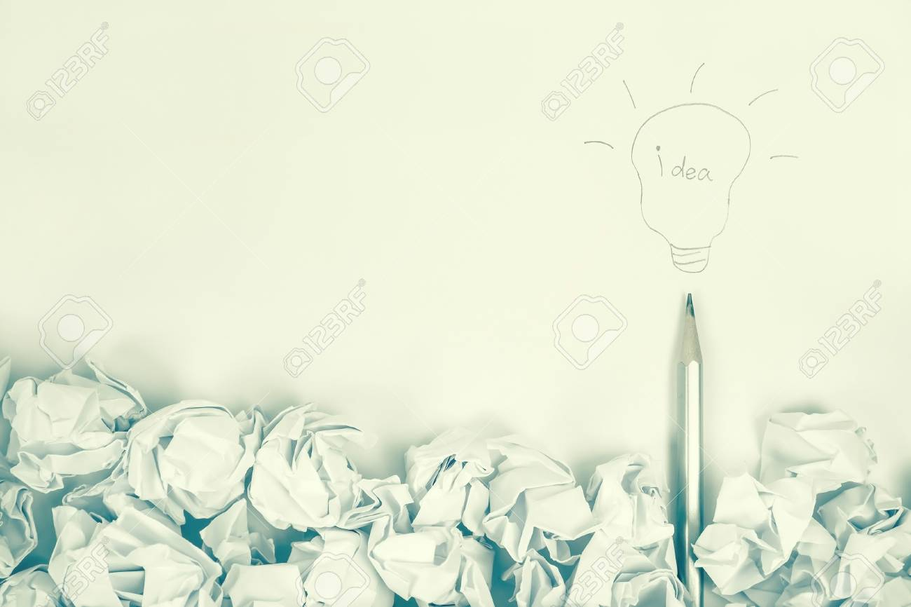Idea drawing with pencil on blank space paper background for idea concept background stock photo