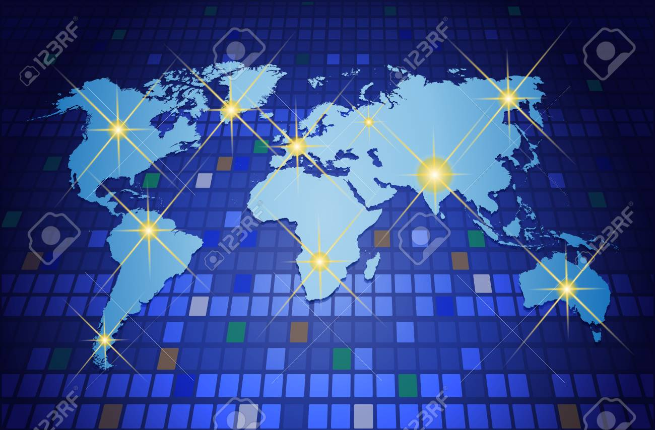 Illustration of world map on blue background communication illustration of world map on blue background communication technology concept vector file gumiabroncs Image collections